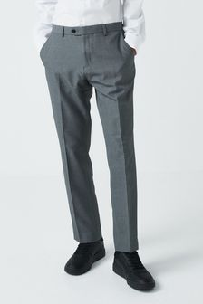 Light Grey Slim Fit Machine Washable Plain Front Trousers