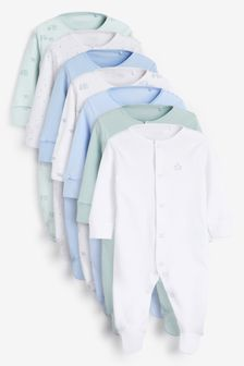 Blue 7 Pack Plain Sleepsuits (0-2yrs)