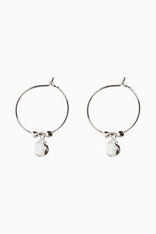 Sterling Silver Opal Charm Hoop Earrings
