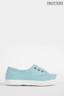 Trotters London Sea Blue Plum Canvas Shoes