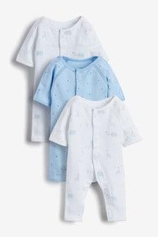Pale Blue 3 Pack Cotton Premature Sleepsuits (0-0mths)