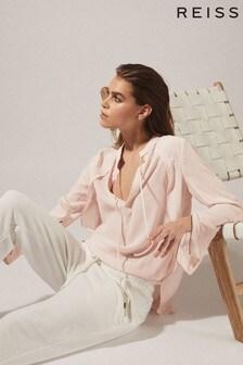 Reiss Pink Frances Zip Detail Blouse