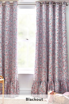 Laura Ashley Pink/Grey Blossom Ditsy Floral Ruffle Eyelet Blackout Curtains