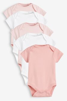 Pink/White 5 Pack GOTS Certified Organic Cotton Short Sleeve Bodysuits (0mths-3yrs)