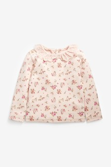 Pink Floral Brushed Broderie Collar Top (3mths-7yrs)