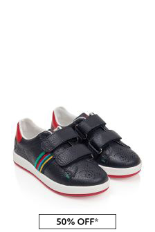 Boys Navy Leather Trainers