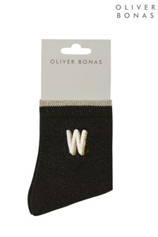 Oliver Bonas Black Alphabet Embroidered Initial Letter Socks