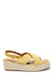 Ochre/Cream Crossover Chevron Flatform Sandals