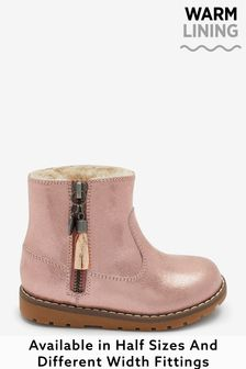 Rose Gold Wide Fit (G) Warm Lined Ankle Boots