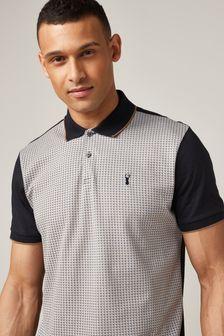 Navy Blue Dogtooth Print Polo Shirt