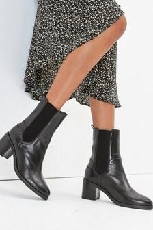 Black Forever Comfort® Block Heel Elastic Chelsea Boots