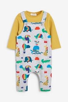 Bright Rainbow Print Jersey Dungaree And Bodysuit Set (0mths-2yrs)