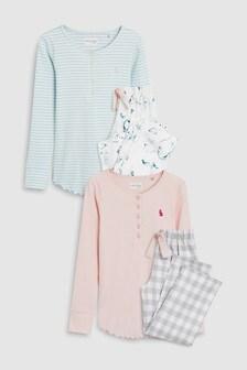 Синий Розовый Набор из двух пижам с текстильными штанами (3-16 лет) d8c9f358a3a60