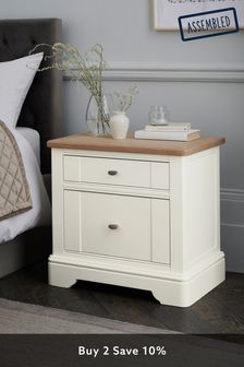 Chalk Hampton 2 Drawer Wide Bedside Table