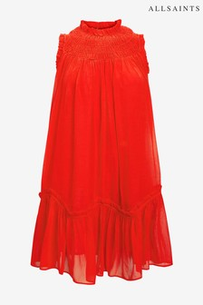 AllSaints Red Aria Smock Neck Dress