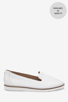 White Leather EVA Slipper Loafers