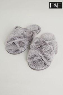 F&F Grey Faux Fur Cross Slide Slippers