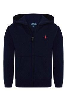 Boys Navy Cotton Half Zip Sweater