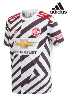 adidas White Manchester United Third 20/21 Football Shirt