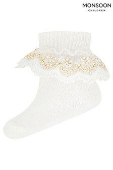 Monsoon Baby Chloe Sparkle Gold Lace Socks