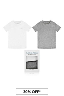 Boys White/Grey Cotton Tops Two Pack