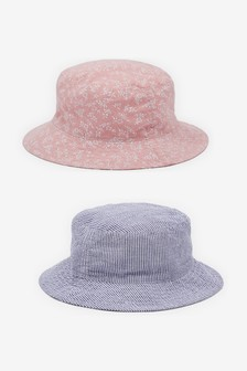 Pink/Chambray 2 Pack Ditsy Fisherman's Hats (Younger)