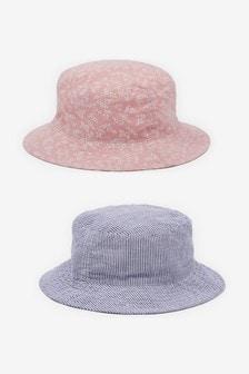 Pink/Chambray 2 Pack Ditsy Fisherman's Hats (3mths-6yrs)