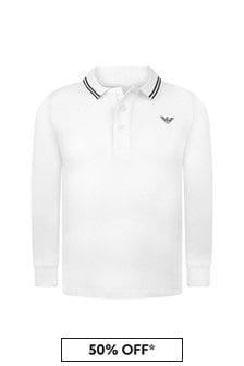 Emporio Armani Boys White Cotton Pique Poloshirt
