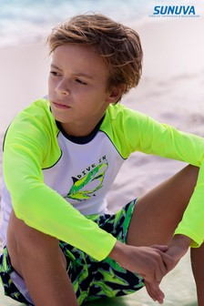 Sunuva White Neon Shark Long Sleeve Rash Vest