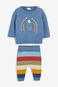 Blue Rainbow Bear Knitted Jumper And Leggings Set (0mths-2yrs)