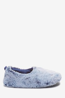 Blue Frosted Faux Fur Slippers
