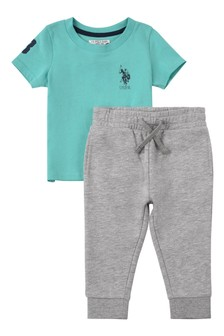 U.S. Polo Assn Green Player 3 T-Shirt And Joggers Set