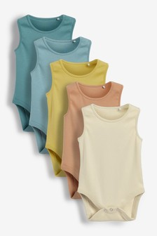 Mineral Tones 5 Pack Vest Bodysuits (0mths-3yrs)