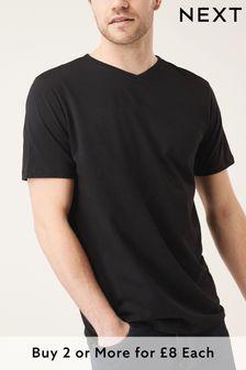 Black Regular Fit V-Neck T-Shirt