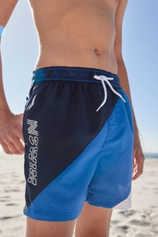 Blue Colourblock Swim Shorts (3-16yrs)