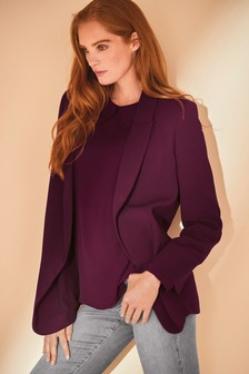 Plum Relaxed Soft Crepe Blazer