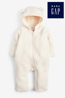 Gap Baby Bear Sherpa Fleece Pramsuit With Ears