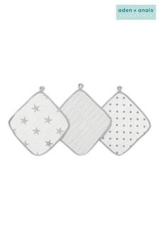 aden + anais Essentials Grey Washcloth Set Three Pack