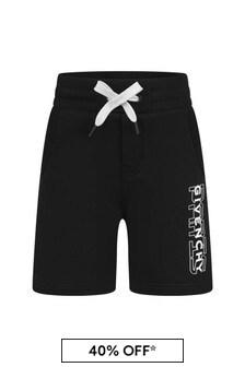 Boys Black Logo Bermuda Shorts