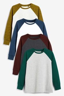 Multi 4 Pack Long Sleeve Textured Raglan T-Shirts (3-16yrs)