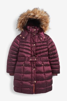 Berry Belted Padded Coat (3-16yrs)