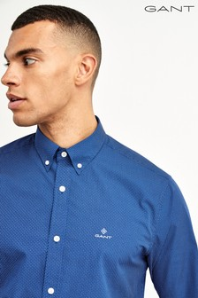 GANT Blue Micro Dot Print Shirt