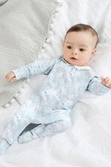 Blue Floral Collar Smart Single Sleepsuit (0-2yrs)