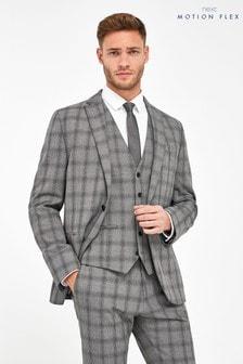 Grey Jacket Check Motion Flex Slim Fit Suit