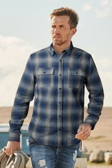 Blue/Ombre Regular Fit Brushed Flannel Check Long Sleeve Shirt