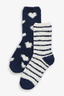 Navy Heart Cosy Bed Socks Two Pack