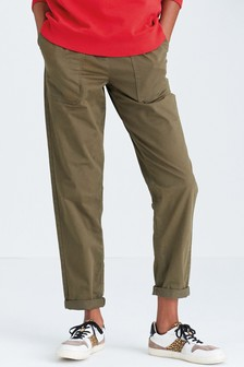 Khaki Cotton Rich Belted Taper Trousers