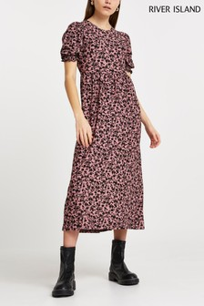 River Island Pink Puff Cut Out  Maxi Dress