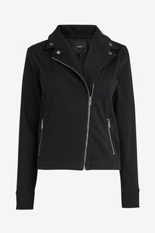 Black Jersey Denim Biker Jacket