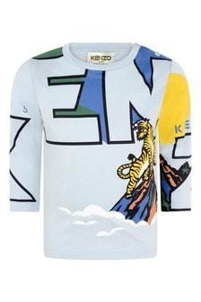 Boys Blue Cotton Long Sleeve T-Shirt